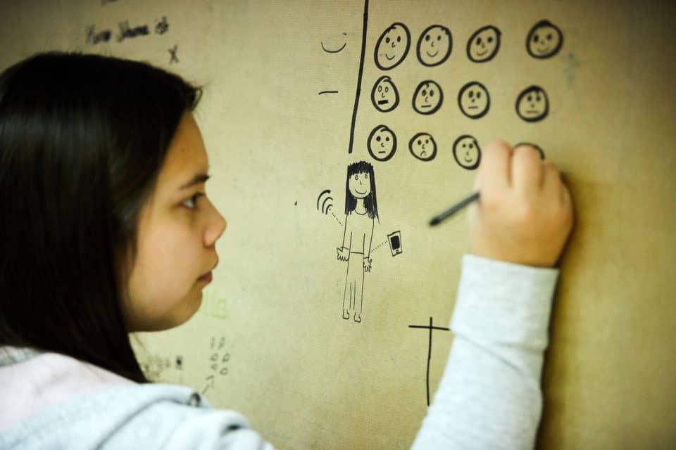 """Jugendliche beim Seminar im Rahmen des Projekts """"LogMySelf"""". © KWI"""