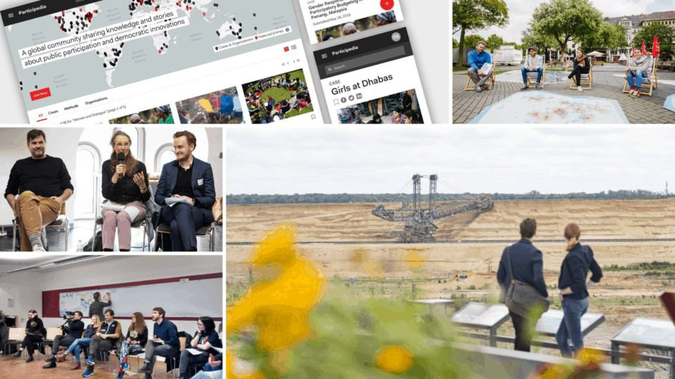 """Im Uhrzeigersinn: Participedia-Homepage, Projekt Beweg dein Quartier, Projekt BioökonomieREVIER, Projekt Logmyself, Fachforum """"Kohleausstieg, Nachhaltigkeit, Wissenschaft"""". Fotos ©: KWI"""