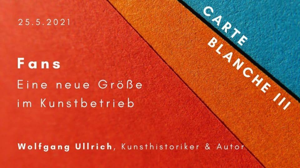 Vortrag von Wolfgang Ullrich: Fans. Eine neue Größe im Kunstbetrieb